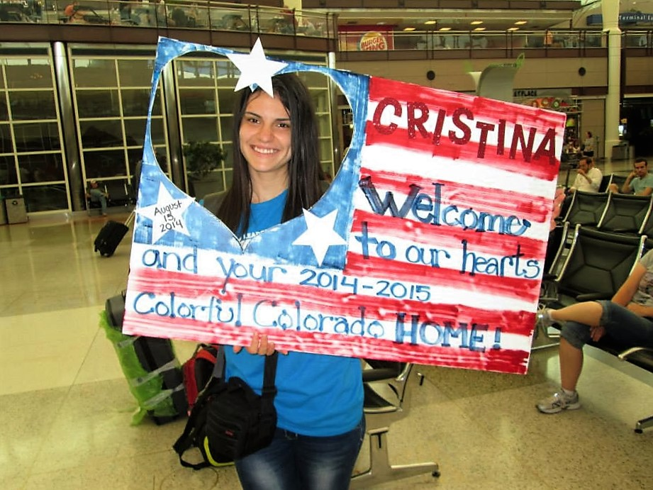 Cristina on her day of arrival to Colorado.