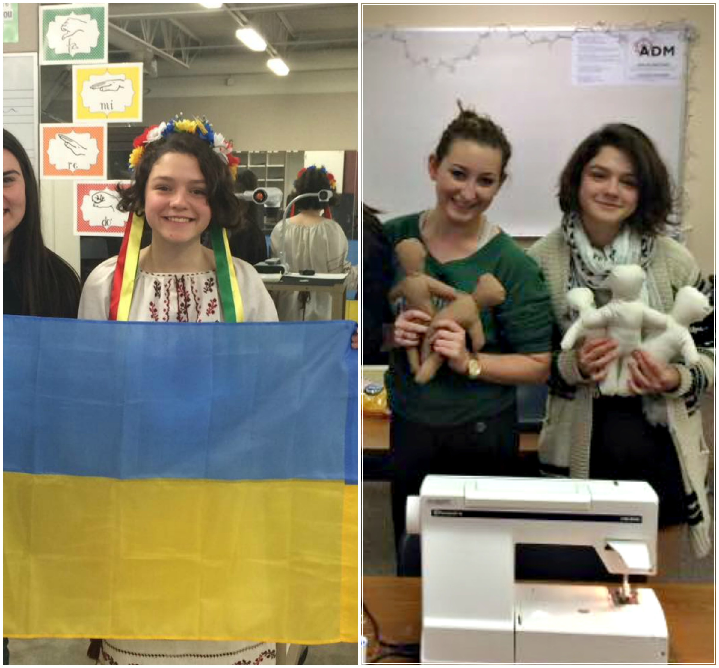 Left: Anna in her traditional wear, holding her country's flag during International Education Week. Right: Anna with FCCLA club members making dolls to raise money for Children's Blank Hospital.