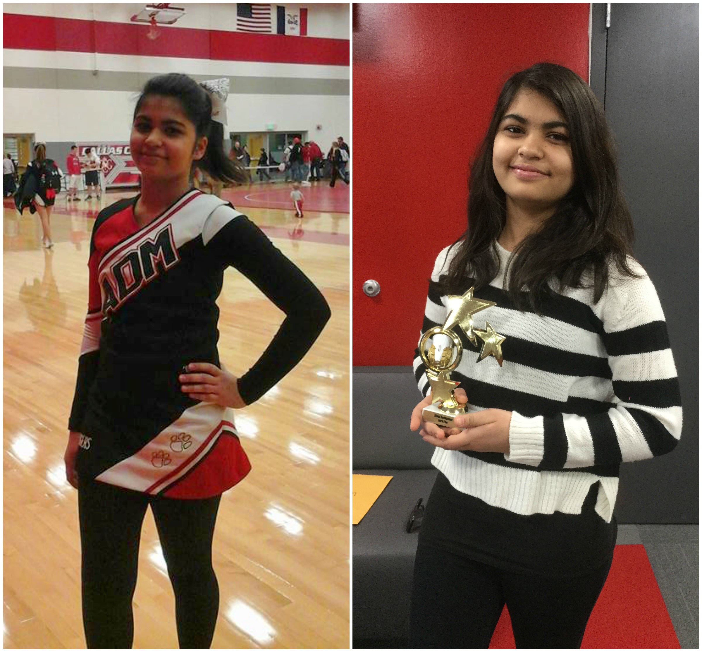 """Left: Iqra at the start of her cheerleading season at ADM. Right: Iqra holding her trophy for being """"Most Dedicated""""."""