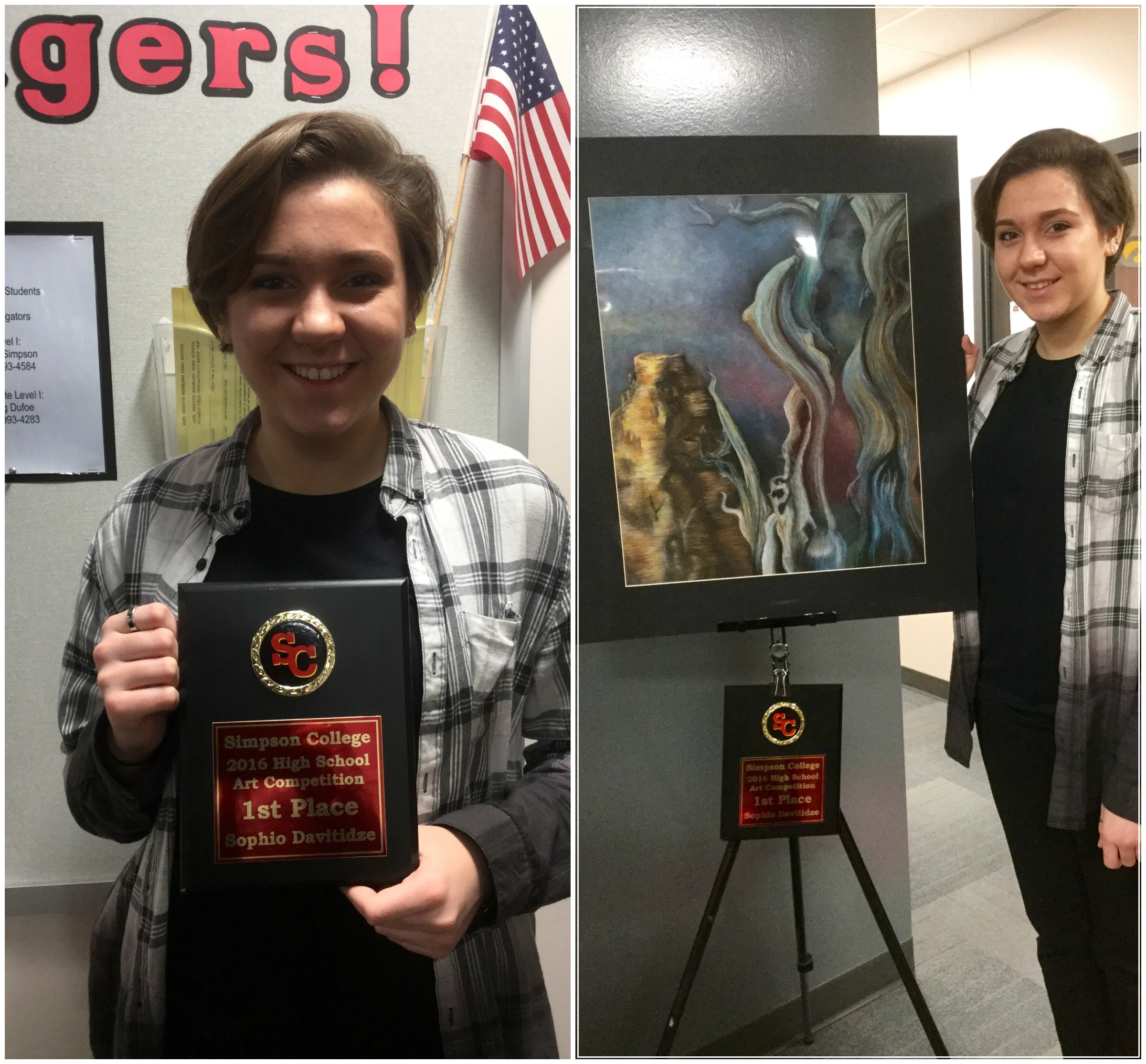 Sophio with her submission and her 1st place plaque for the Simpson College 2016 High School Art Competition.