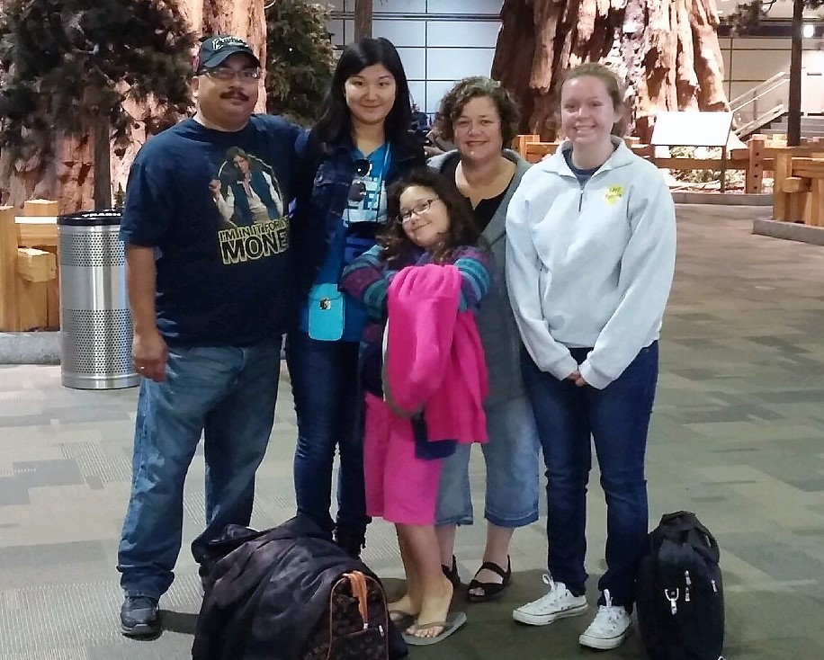Dana and her host family saying their goodbyes after her three-week visit to California.