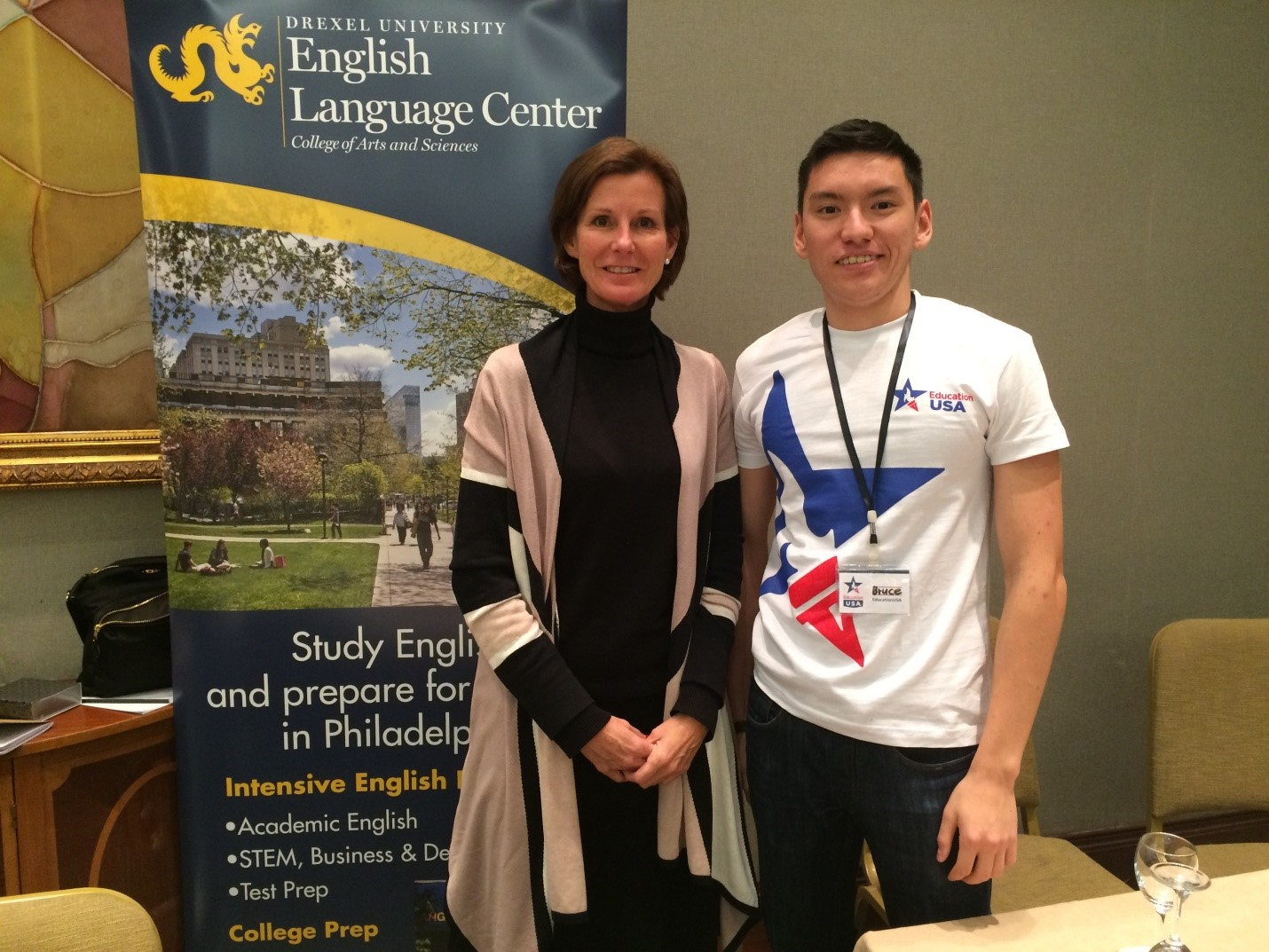 During an Education Fair; hosted by EducationUSA, Ruslan volunteered to help represent American universities.