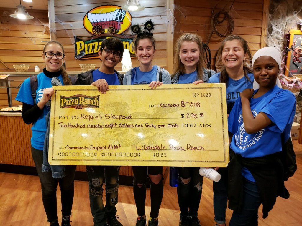 Pizza Ranch Fundraiser Group with Check