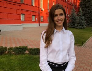 Iryna in front of her university.