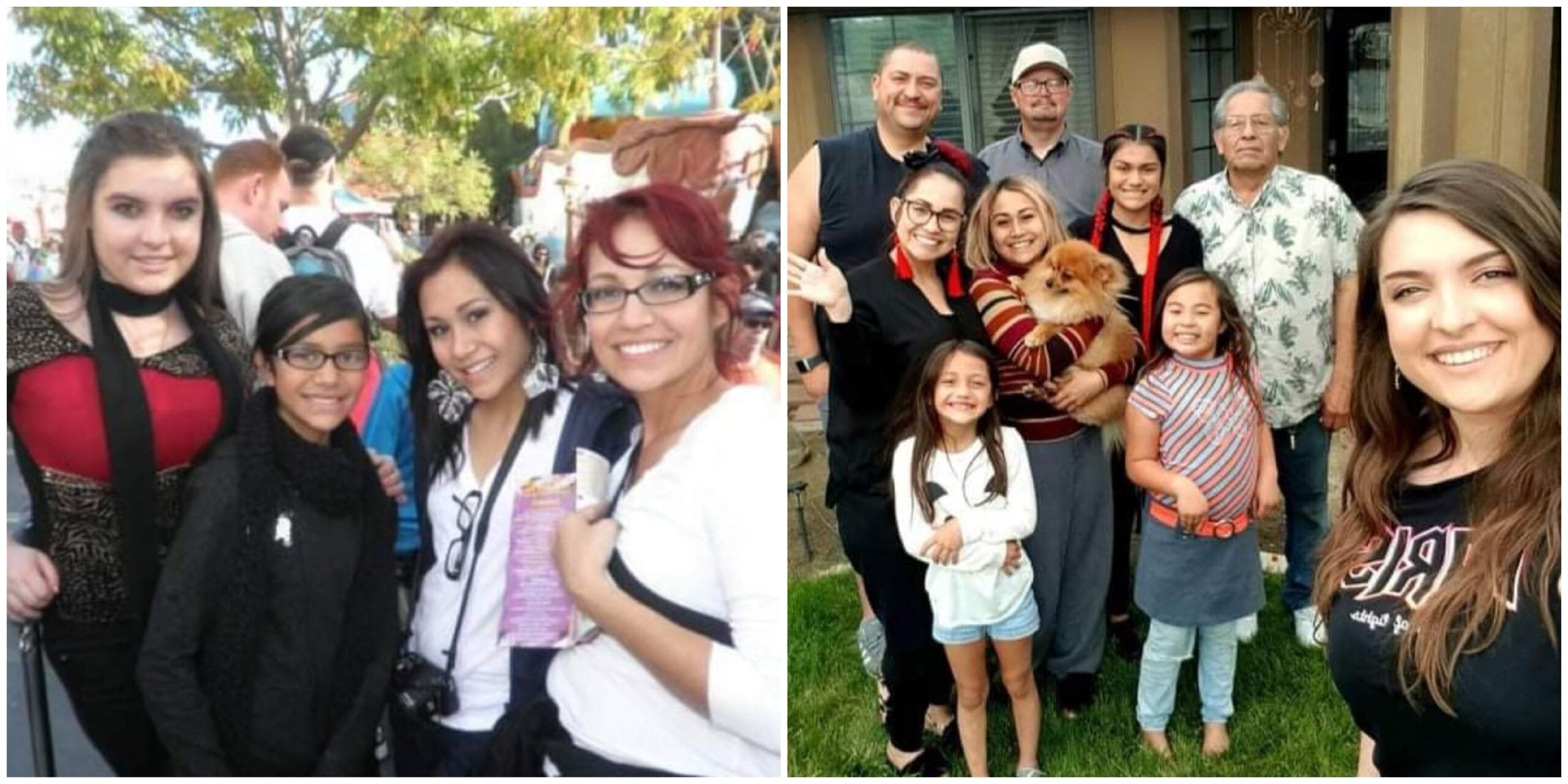 Ina with her host family, then and now.