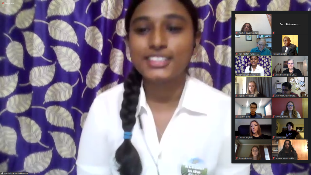 Nandhika during her virtual presentation.