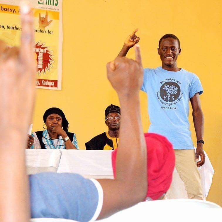 Nehemiah Danjuma teaching sign language