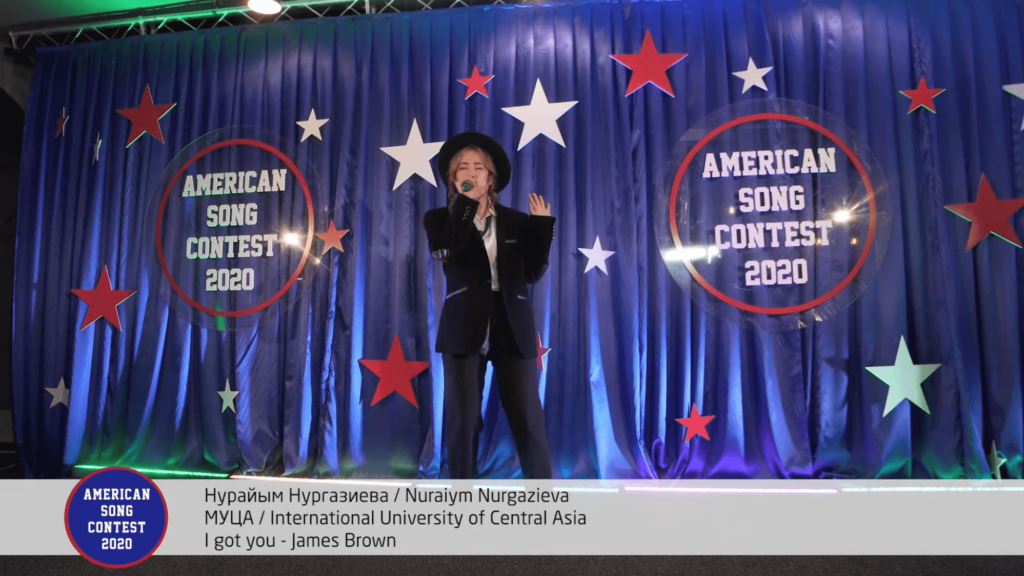 "Nuraiym performing ""I Got You"" by James Brown for the American Song Contest 2020 Finals."