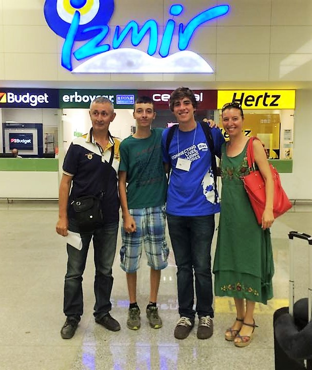 World Link host brother Jacob Burch-Konda with his Turkish host family, meeting him at the airport.
