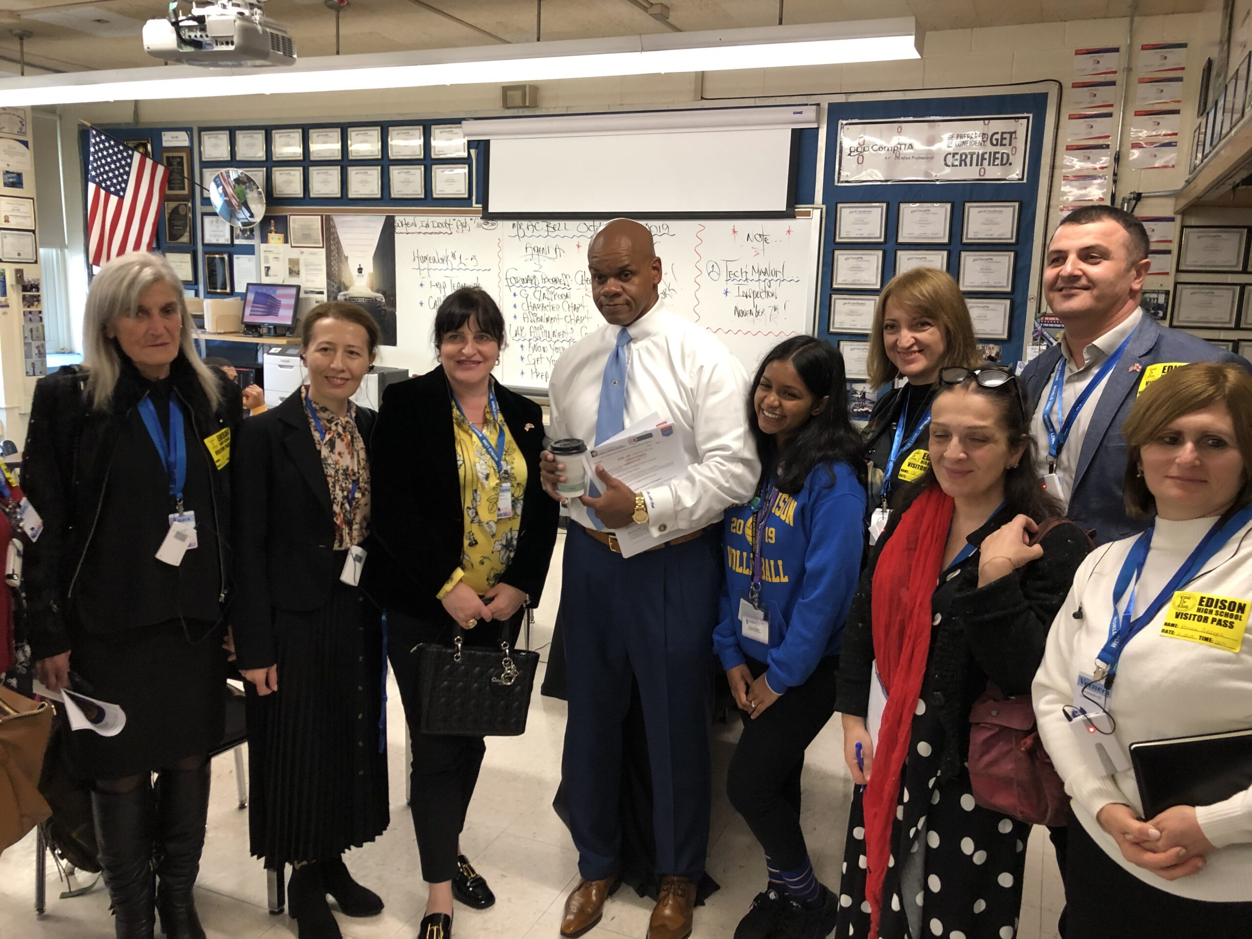 Georgian Secondary School Principals visiting a classroom at the Thomas A. Edison Career and Technical Education High School in Jamaica, New York.